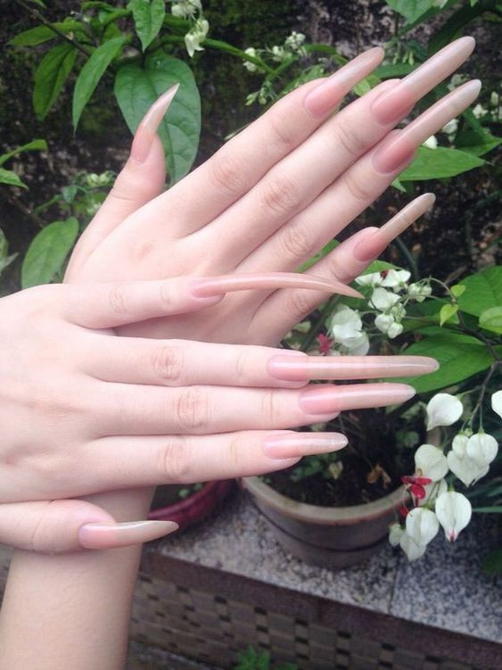 Long pointed nails; Extra long nails; Nail art; Long nail art; Sharp nails