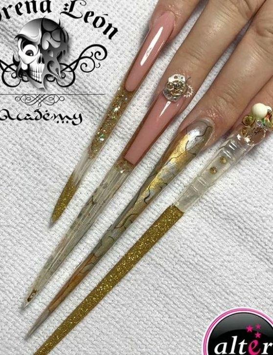 Long pointed nails; Extra long nails; Nail art; Long nail art; Sharp nails