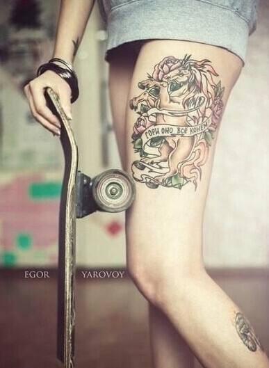 Thigh tattoo;women;harry potter;inspirational;ideas;for girls;flowers
