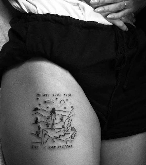 Thigh tattoo;women;harry potter;inspirational;ideas;for girls;flowers
