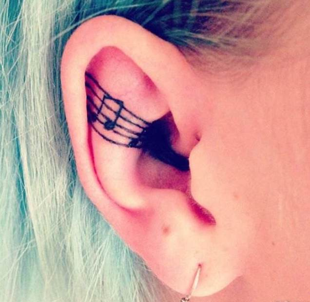 Ear tattoo;Tiny tattoo; tattoo designs; delicate tattoo