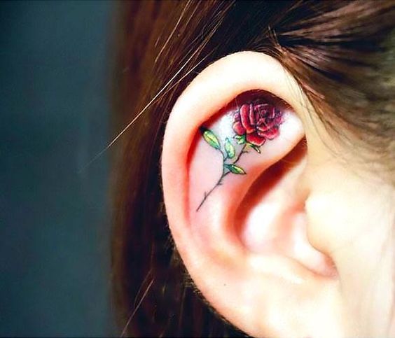 Ear tattoo;Tiny tattoo; tattoo designs; delicate tattoo